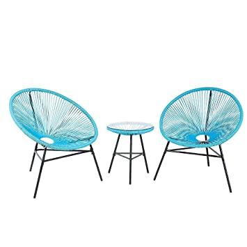 Mid Century Modern Patio Bistro Set Table And Chairs 3 Piece Blue Acapulco