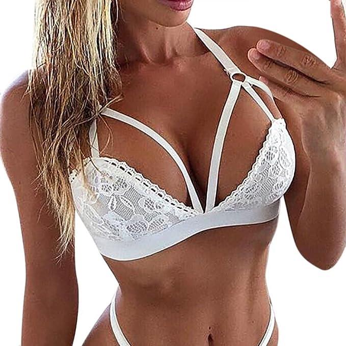 VECDY Lencería Elegante Corset Encaje Flores Mujeres Color Solido Bralette Bralet Bra Bra Cami Crop Sexy