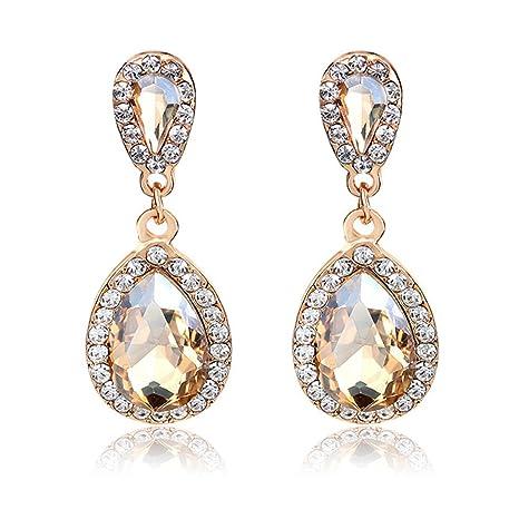 7eabd496a8cf2 Women Rhinestone-studded Teardrop Studs Artificial Crystal with Bling Stone  Fashion Drop Earring Jewelry