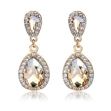 Amazon.com : Jewelry Rhinestone Studded Teardrop Artificial ...