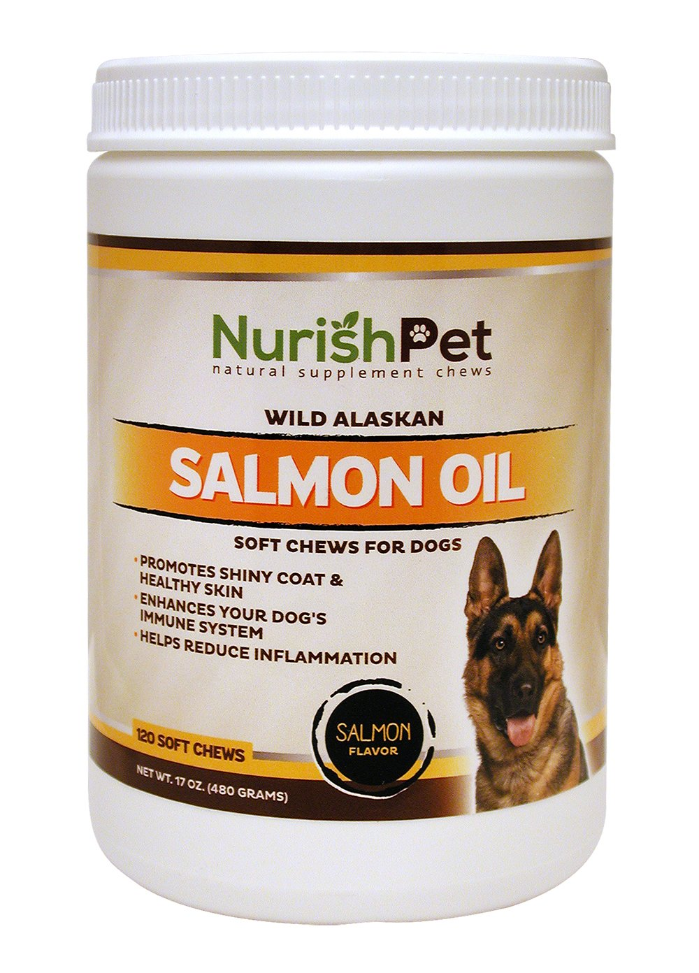 NurishPet – Wild Alaskan Salmon Oil for Dogs – All Natural Dog Treats and Thyroid Immunity Supplements for Improved Metabolism and Healthy Shiny Coat (120 Soft Dog Treats) free shipping
