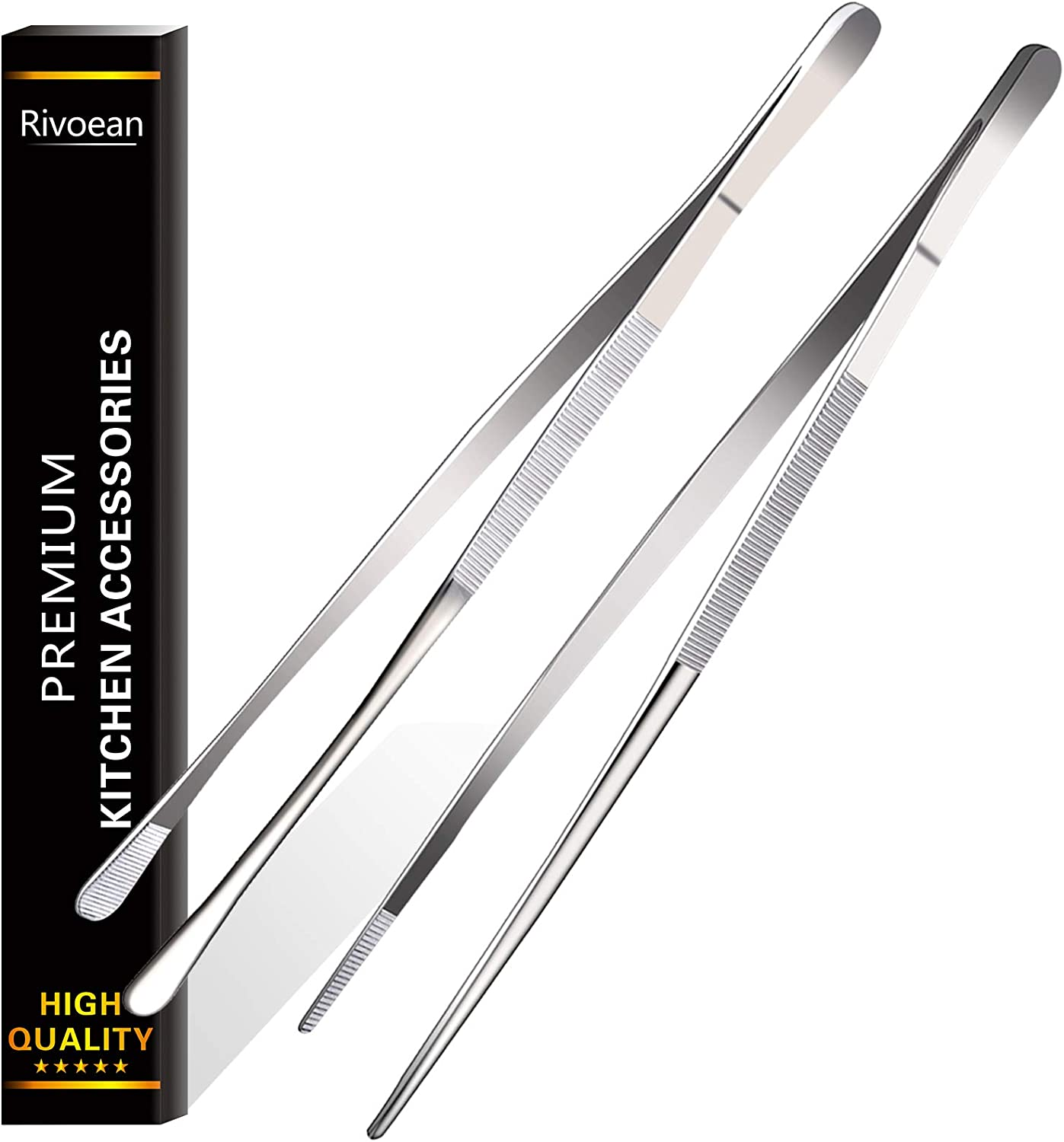 Rivoean 2 Pcs 12-Inch Fine Tweezer Tongs,Extra-Long Stainless Steel Tweezers Tongs