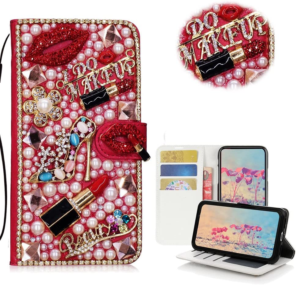 STENES LG Tribute HD Case, LG X Style Case, LG Volt 3 Case - Stylish - 3D Handmade Crystal Girls Lipstick High Heel Flowers Wallet Credit Card Slots Fold Media Stand Leather Cover Case - Red
