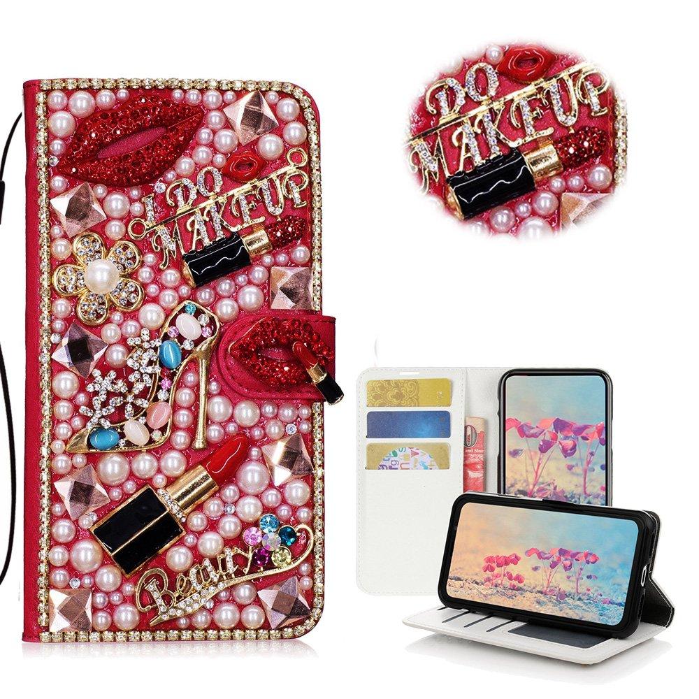 STENES iPhone 8 Plus Case - Stylish - 3D Handmade Bling Crystal Girls Lipstick High Heel Flowers Desgin Wallet Credit Card Slots Fold Media Stand Leather Case for iPhone 7 Plus/iPhone 8 Plus - Red