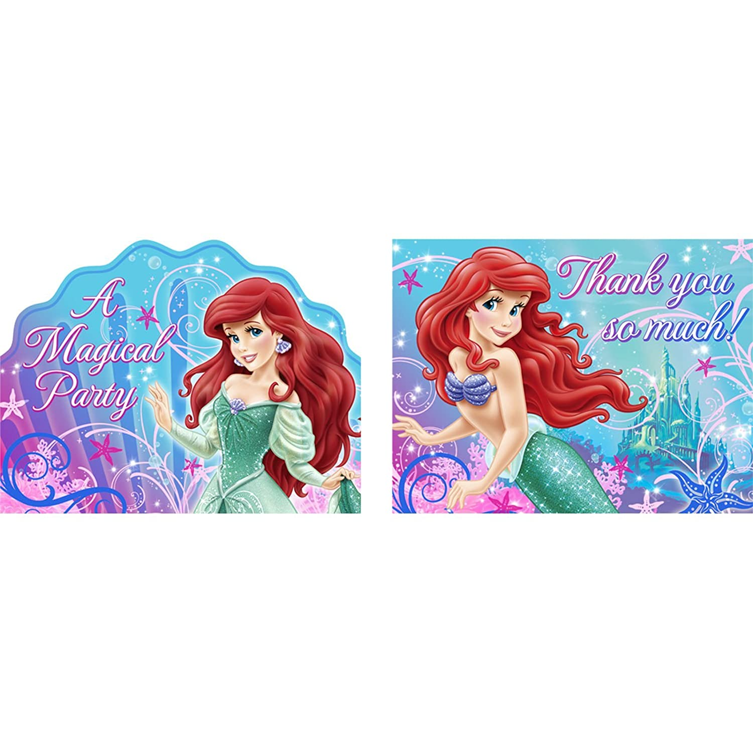 Amazoncom Little Mermaid Sparkle Party Invitations Thank You