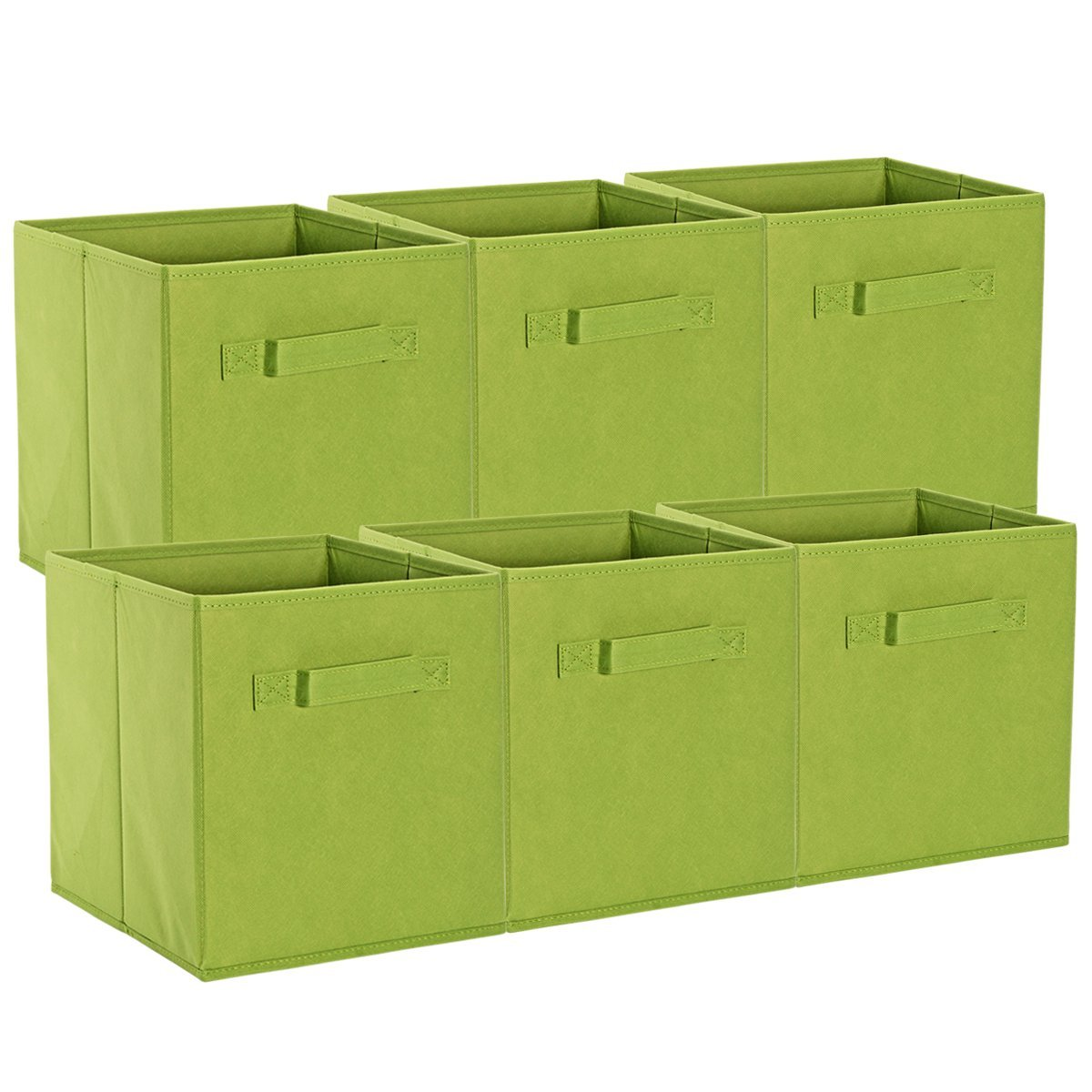 ON'H Foldable Cloth Storage Cubes Baskets Box Bins Organizers for Home Closet Kids Toy Storage Pack of 6, Green