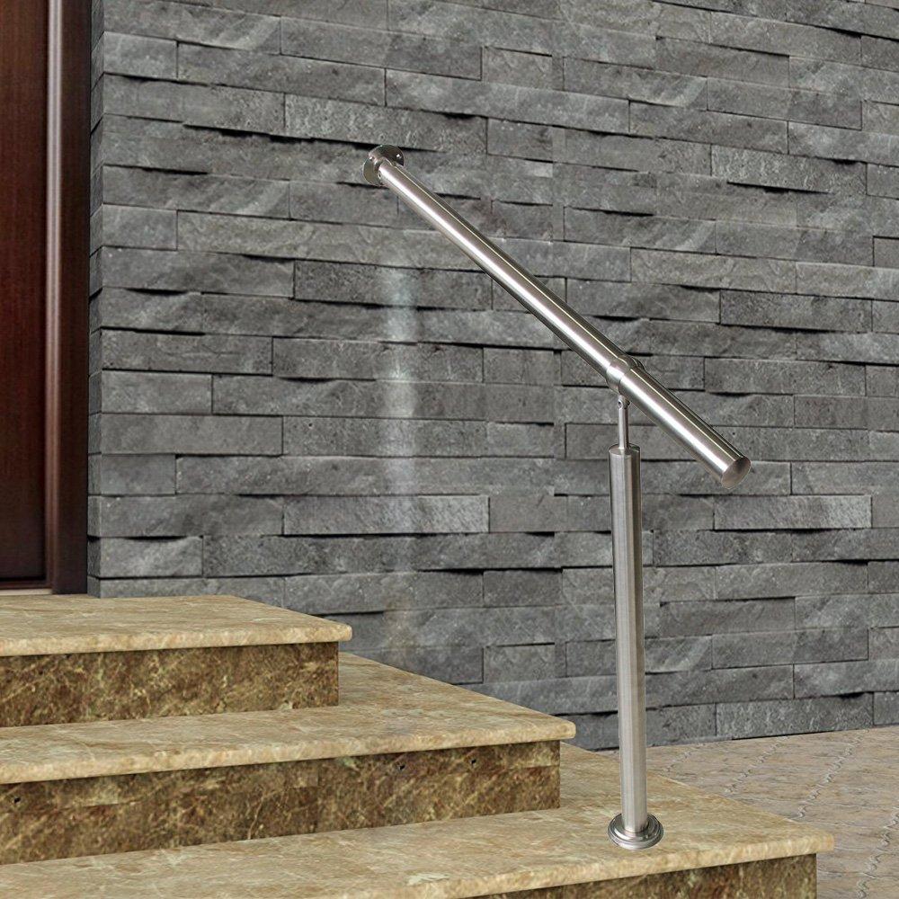 120x90cm FROADP Ringhiera da Ingresso con Acciaio Corrimano con Ring Inclinata e Regolabile in altezza per interni ed esterni