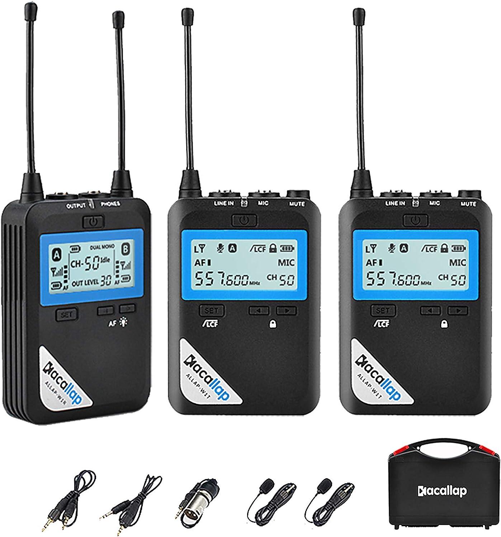 Kacallap Micrófono Inalámbrico UHF, 2 transmisor y 1 receptor Distancia a 80m, Micrófono de solapa Compatible con videocámaras, cámaras DSLR, ...