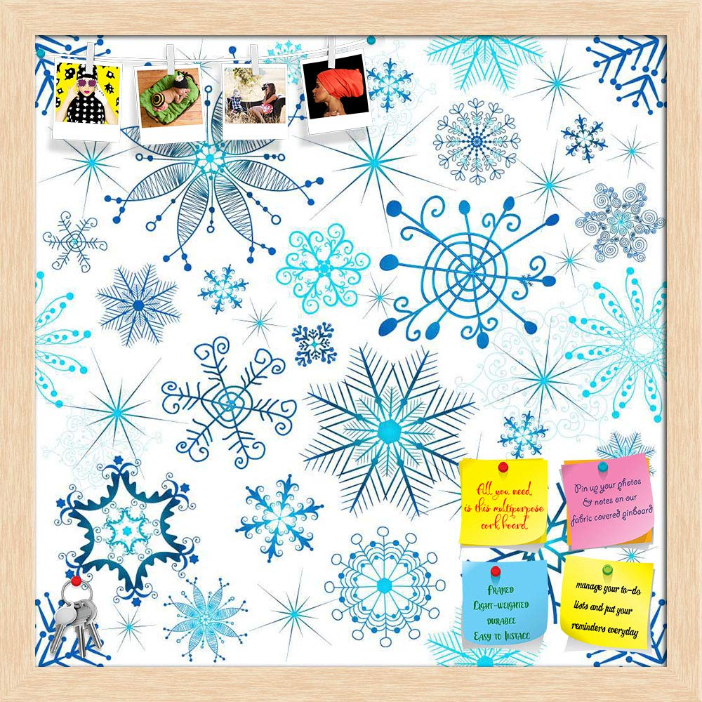 ArtzFolio Christmas Snowflakes Printed Bulletin Board Notice Pin Board cum Antique Golden Framed Painting 12 x 12inch