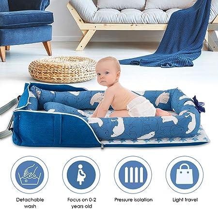 DaMohony Cuna Nido Portátil para Bebé Recién Nacidos Tumbona Algodón Plegable Recién Nacido Cuna Co-Dormir para Viaje Dormitorio Al Aire Libre