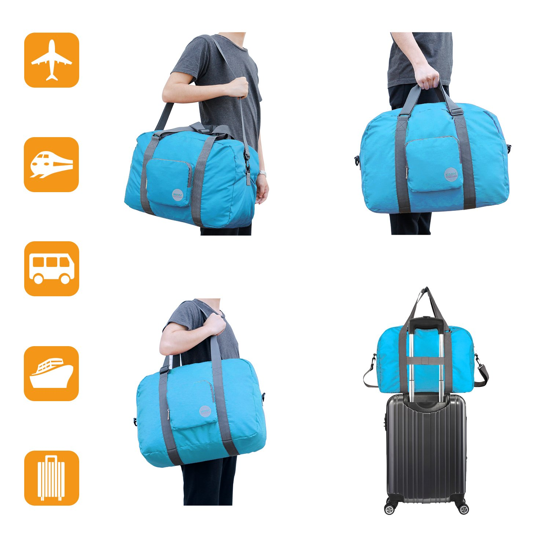 Wandf Foldable Travel Duffel Bag Luggage Sports Gym Water Resistant Nylon, Blue by WANDF (Image #7)