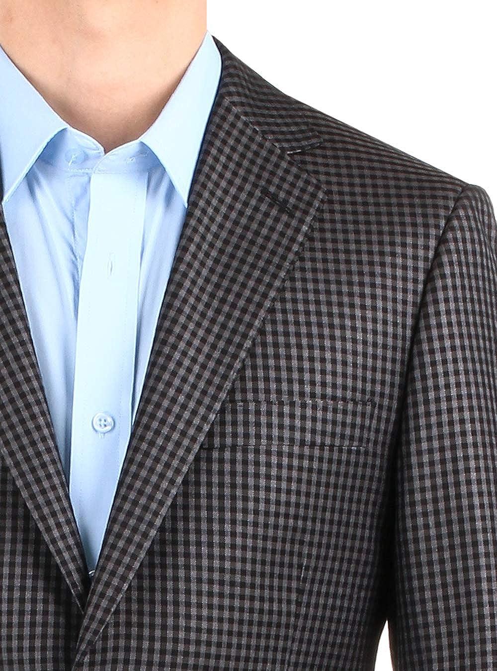 DTI BB Signature Mens Dress Suit Jacket Two Button Check Modern Fit Blazer Coat