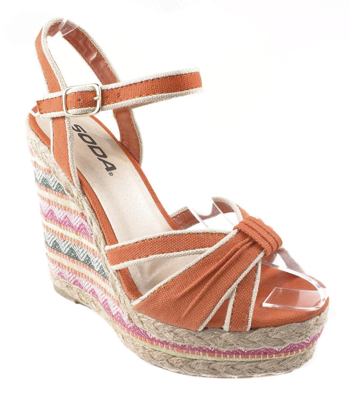 Tassel! By Soda Platform Wedge Espadrille Trim Ankle Strap Sandals in Coral Cotton B00BFI2KKO 8.5 B(M) US