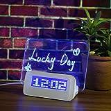 Baban despertador/regalo reloj luz suave inteligente línea de reloj + pluma + USB pizarra Mensaje / despertador digital despertador fluorescente azul calendario