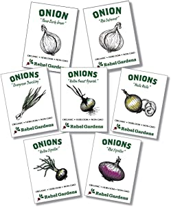 Organic Onion Seeds - 7 Varieties of Heirloom and Non-GMO Red, Yellow, and Green Onions for Planting