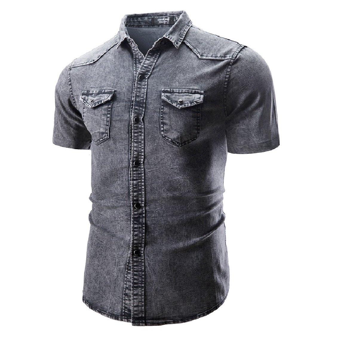 Romantc Mens Casual Fit Turn Down Collar Jean Buttoned Short Sleeve Shirts