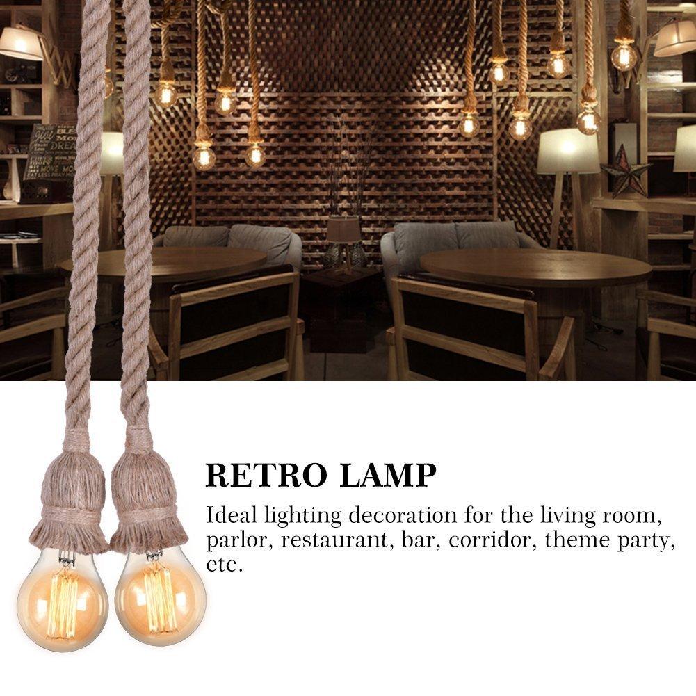 Yosoo Rope Chandelier Pendant Light Ceiling Lamp E27 Base Lamp Cord Retro Style DIY Home Decoration, Double Head