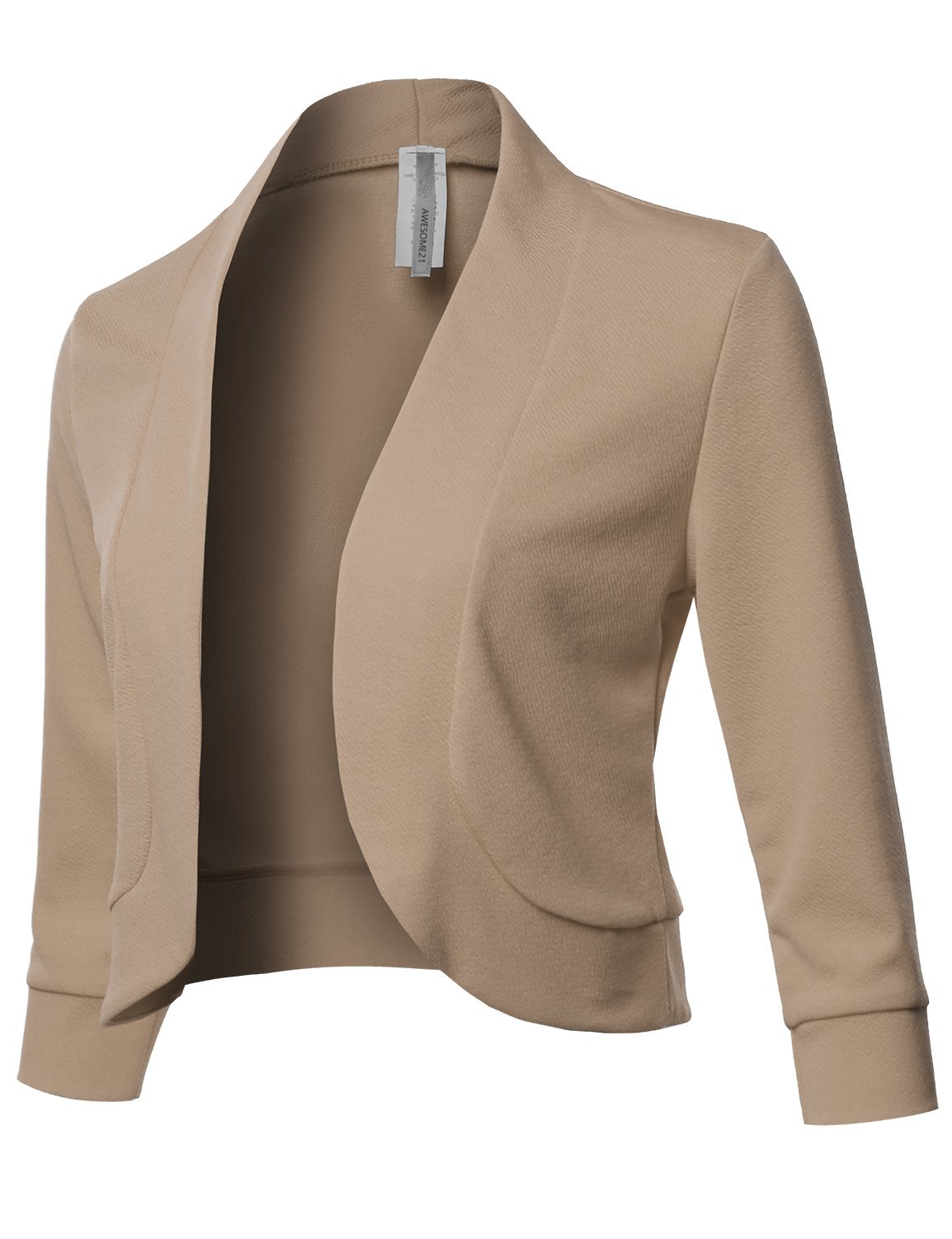 Awesome21 Solid 3/4 Sleeves Open Front Bolero Jacket Shrug - Made in USA Khaki L