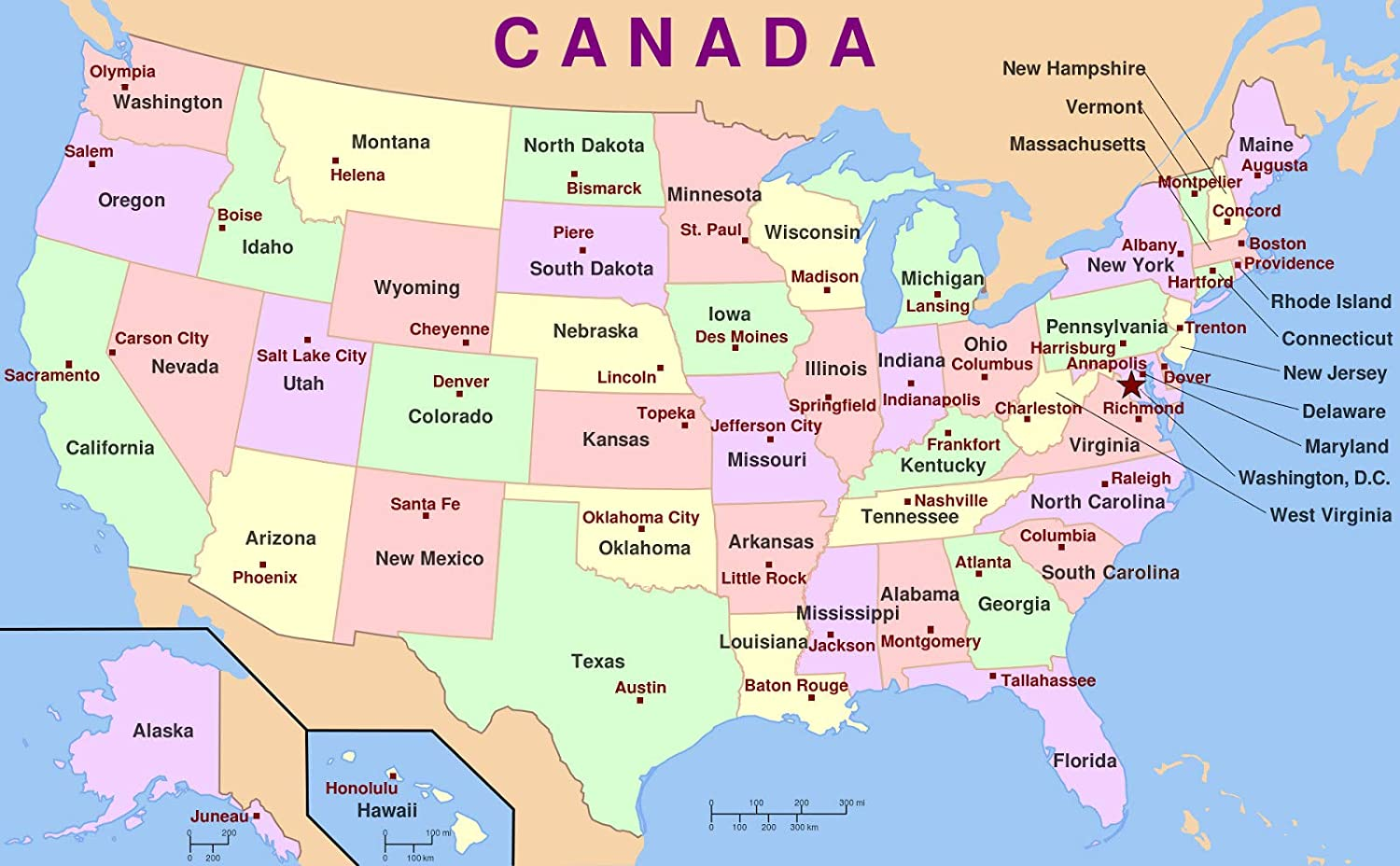 Amazoncom Home Comforts Laminated Map Us Map States Capitals - List-of-us-states-map