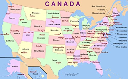 Us Map With States And Capitals Amazon.com: Home Comforts Laminated Map   Us Map States Capitals