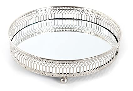 Espejo decorativo de cristal, metal, antiguo plata placa de vela pantalla Bandeja