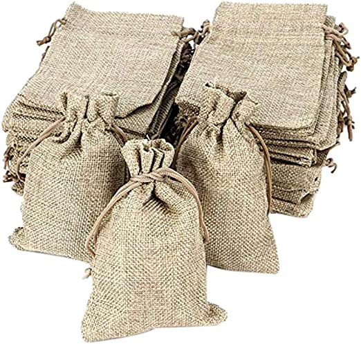 """50Pcs Linen Gift Bag Drawstring Jewelry Pouch Wedding Favor Gift Bags 3x4/"""""""