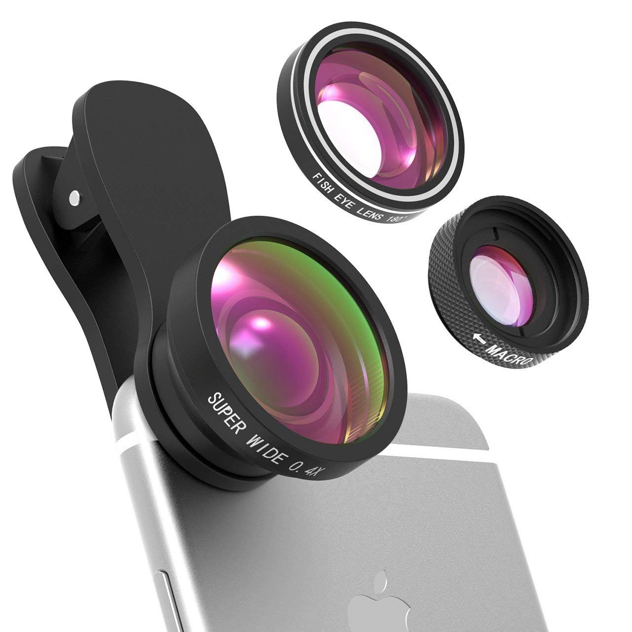 Yantop 3 in 1 Fisheye Lens for iPhone, Phone Lens, 10X Macro Lens, 0.4X Super Wide Angle Lens, 2 Detachable Clamps, 180 Degree Camera Lens Kit for iPhone 8, 7, 6 & Smartphones, Black by Yantop