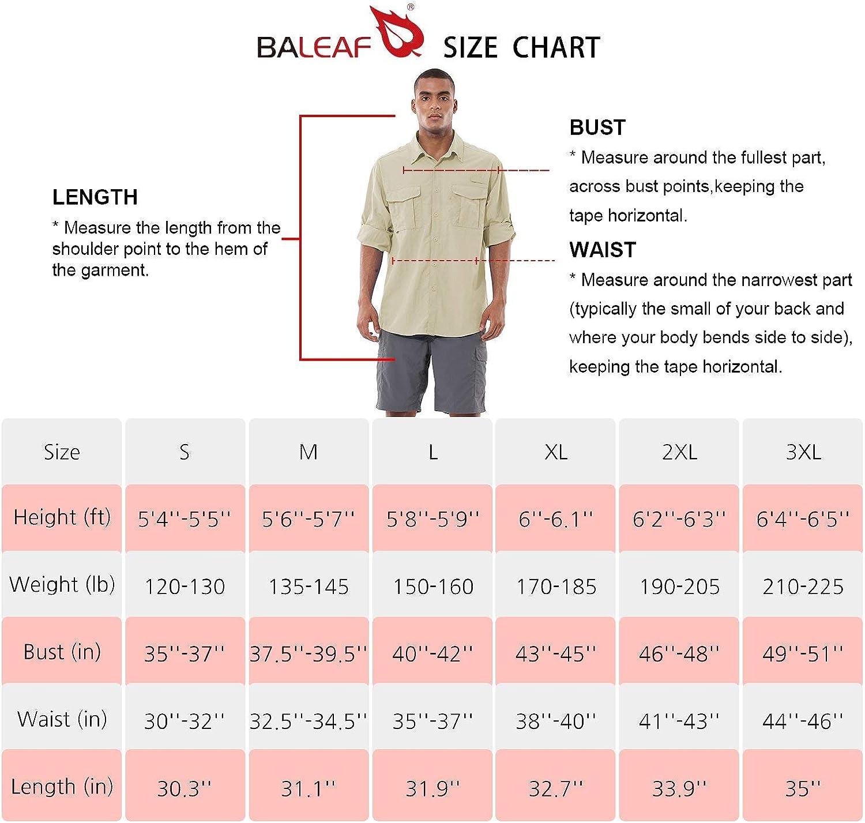 BALEAF Men's UPF 50+ Hiking Shirt Long Sleeve Shirt Outdoor Lightweight Quick Dry Fishing Shirts: Clothing