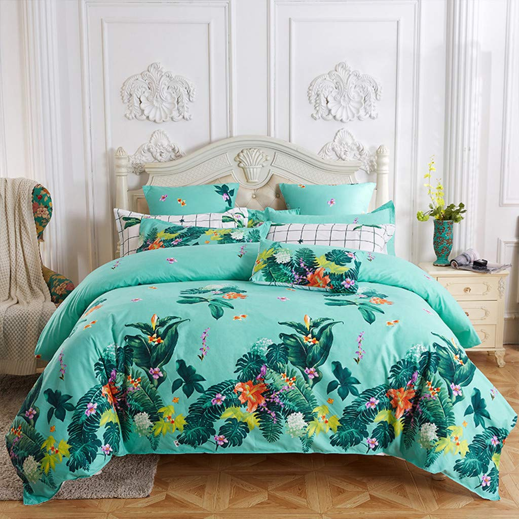 Dowager Flower Pattern 3 Piece Lightweight Bedding Set Bedding Tribute Cotton Pillowcase (M)