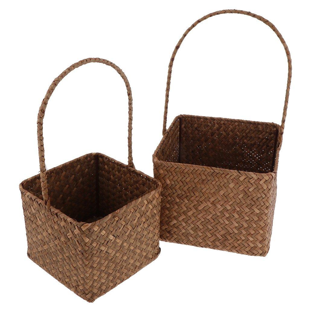 B Blesiya 2pcs Home Office Square Storage Basket Organizer Handmade Rattan Weave Box Brown
