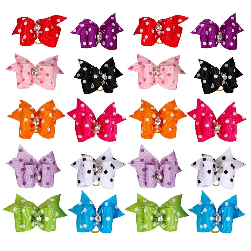 Yagopet 20pcs/10pairs of Pack New Dog Hair Bows Topknot Large Bows Polka Dots Bows Cute Pet Grooming Products Pet Hair Bows Dog Grooming Products Rubber Bands