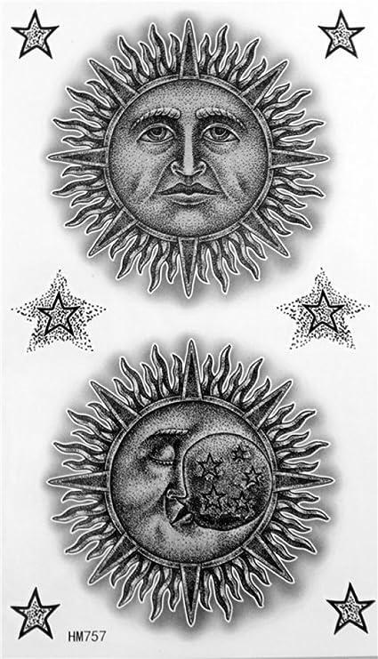 wonbeauty alta calidad con diseño de moda Tempoary Tatuajes Blanco y Negro dibujos animados sol hombre