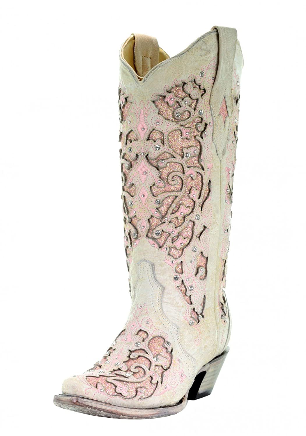 CORRAL A3587 White Pink Leather Glitter Inlay Boot with Crystals B07C2T5VLT 9 B(M) US