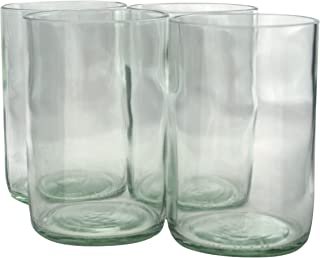 product image for Tumblers Drinking Glasses Made From Recycled Wine Bottles 12 Oz - set of 4 (Clear Flat Bottom, 12 Oz)