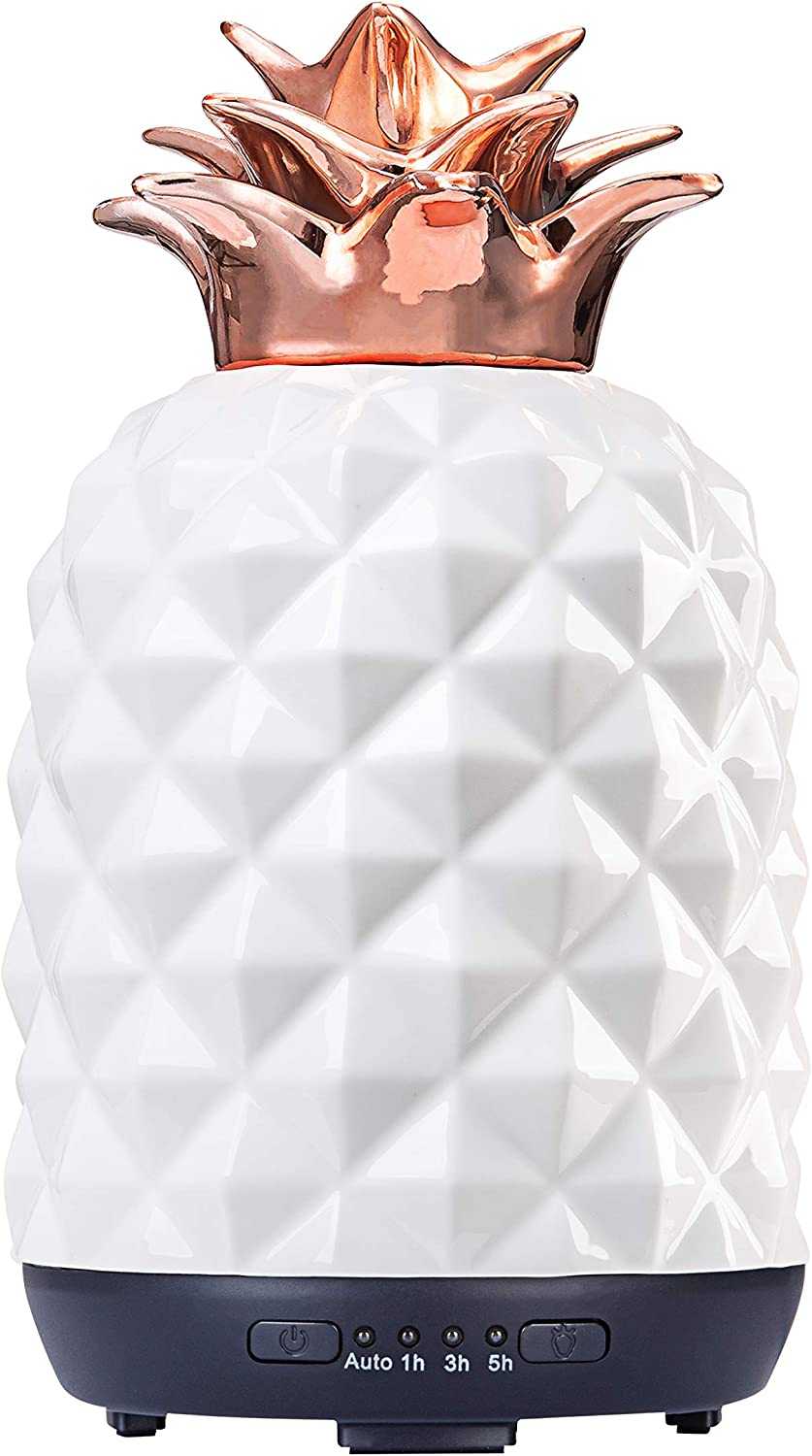 Aromatherapy Essential Oil Diffuser COOSA 250ml Ceramic Handmade Pineapple Home Decoration Cool Mist Humidifier with Color Changing Light Waterless Auto Shut-Off for Deco Baby Office Yoga