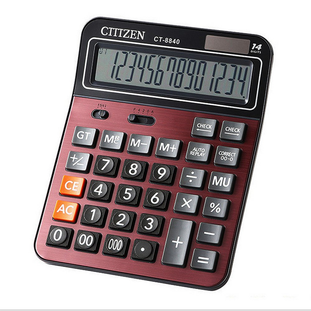 e-cholife Calculators,14 Digits Black Large LED Display Solar Power Standard Destop Calculator with Check Function(red, medium)