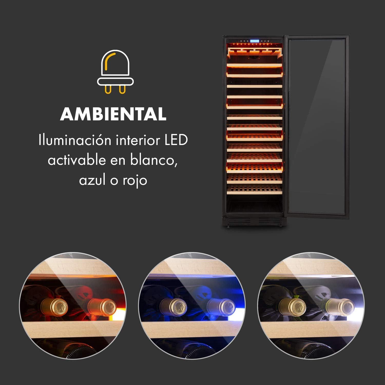 165 botellas de vino Eficiencia energ/ética A panel de control t/áctil Iluminaci/ón interior de 3 colores 433 L negro independiente o empotrado KLARSTEIN Vinovilla Grande Onyx Nevera para vino