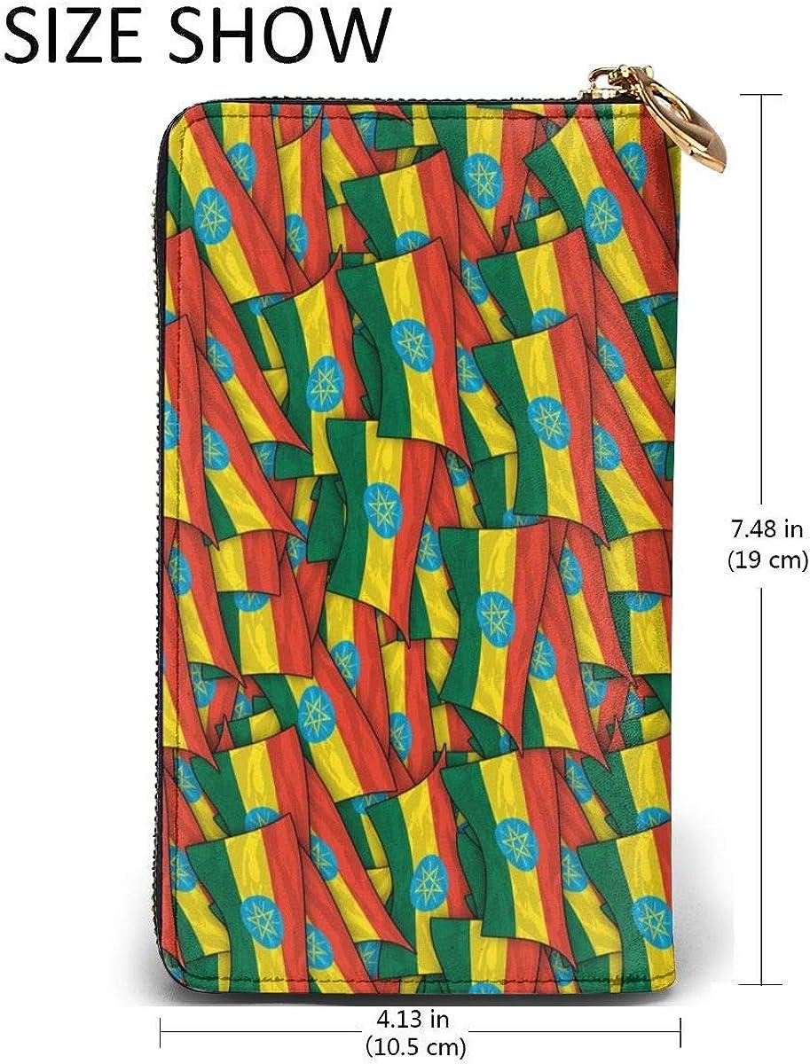 Ethiopia Flag Wave Collage Womens RFID Blocking Zip Around Wallet Genuine Leather Clutch Long Card Holder Organizer Wallets Large Travel Purse