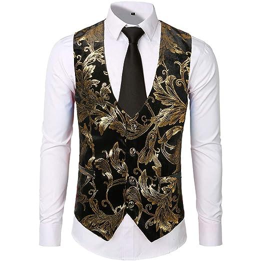 Mens Vest Vintage Waistcoat Vest Men Shiny Bronzing Floral ...