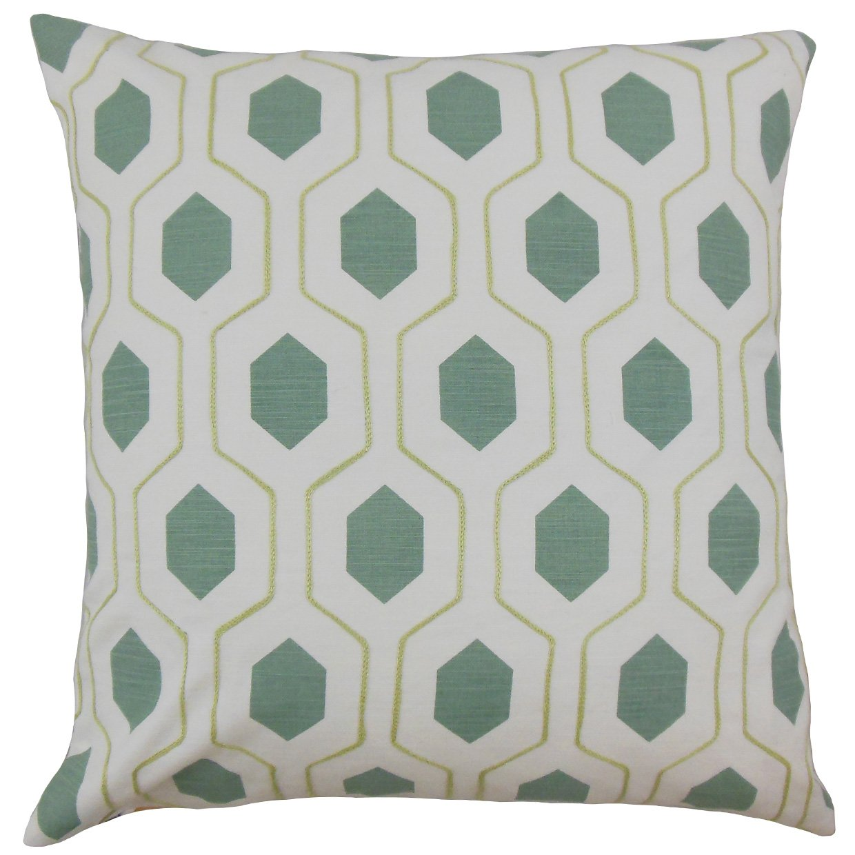 The Pillow Collection P18FLAT-PT-EVERSON-SPA-C100 Flynn Geometric Throw Spa Pillow Cover, 18'' x 18''