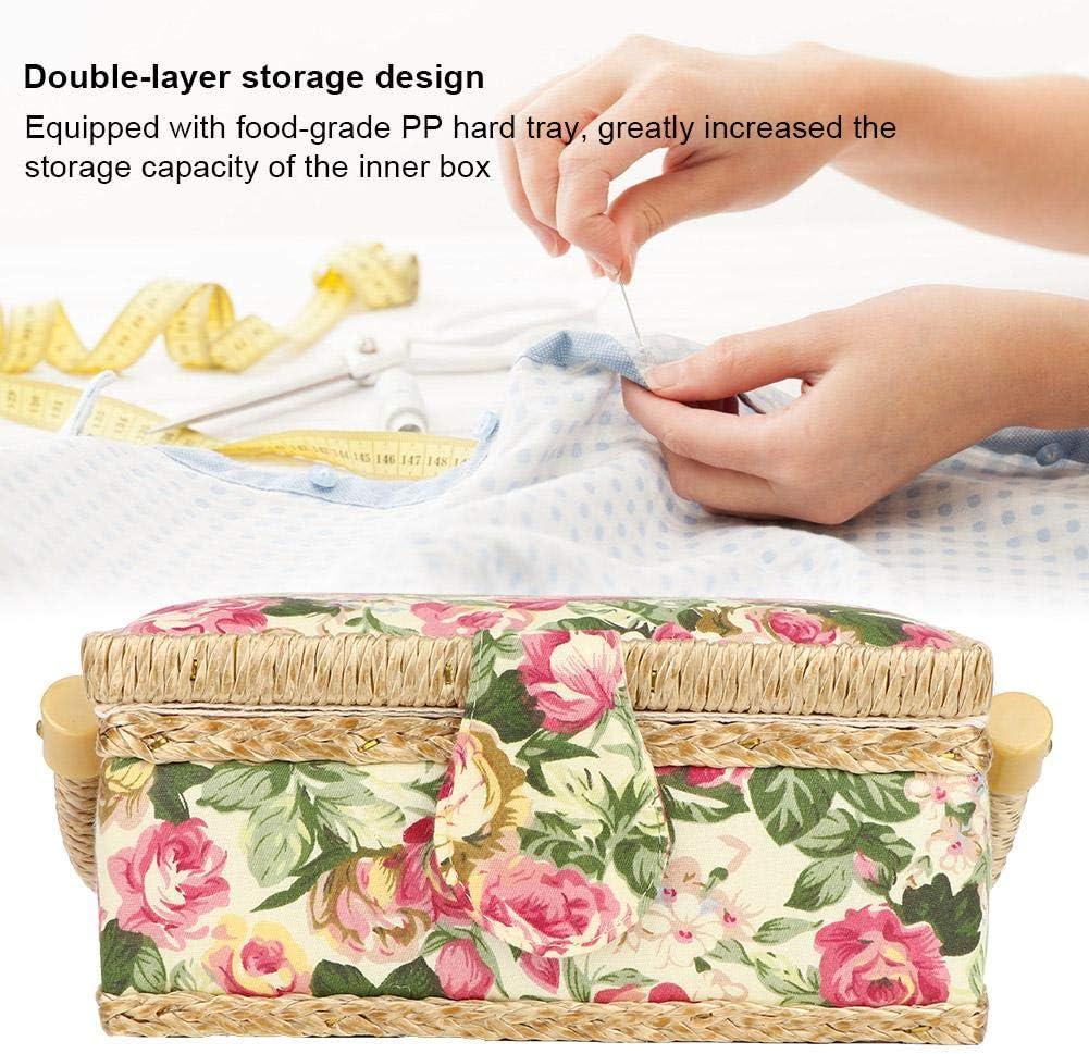 Pssopp N/ähkorb Craft N/ähkorb Sewing Storage Box N/ähzubeh/ör Sewing Kit Organizer Vorratsbeh/älter mit Print Design Pastoral Rose