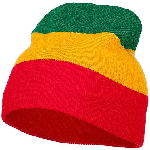 Amazon.com  3 Tone Design Rasta Beanie - Red Yellow Green OSFM  Clothing 6f929df2505