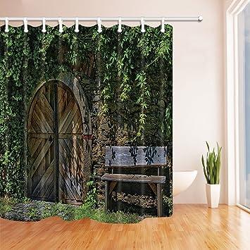 GoHEBE rustikale Duschvorhang für Badezimmer, Stein-Grün- und Arched ...