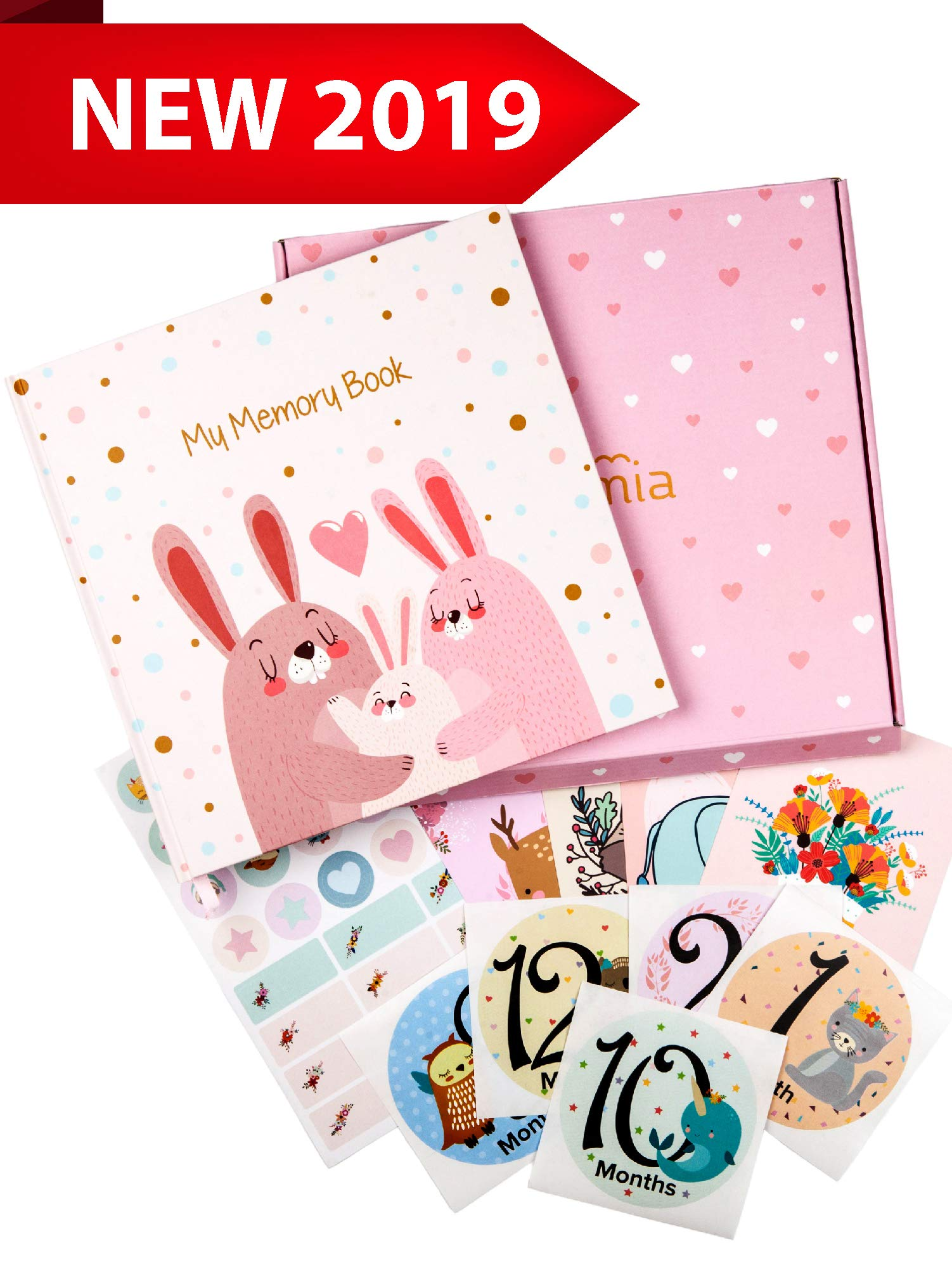 Baby Memory Book for Girls - Baby Books First Year Memory Book Girl - Baby Scrapbook Album - Baby Journal