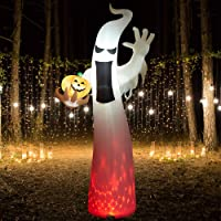 SUPERJARE 8 Ft Halloween Inflatable Ghost, Blow up Flashing Flame Decoration with LED Light, Indoor & Outdoor, Yard & Lawn Decor