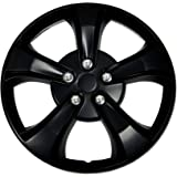 TuningPros WSC-616B15 Hubcaps Wheel Skin Cover 15-Inches Matte Black Set of 4