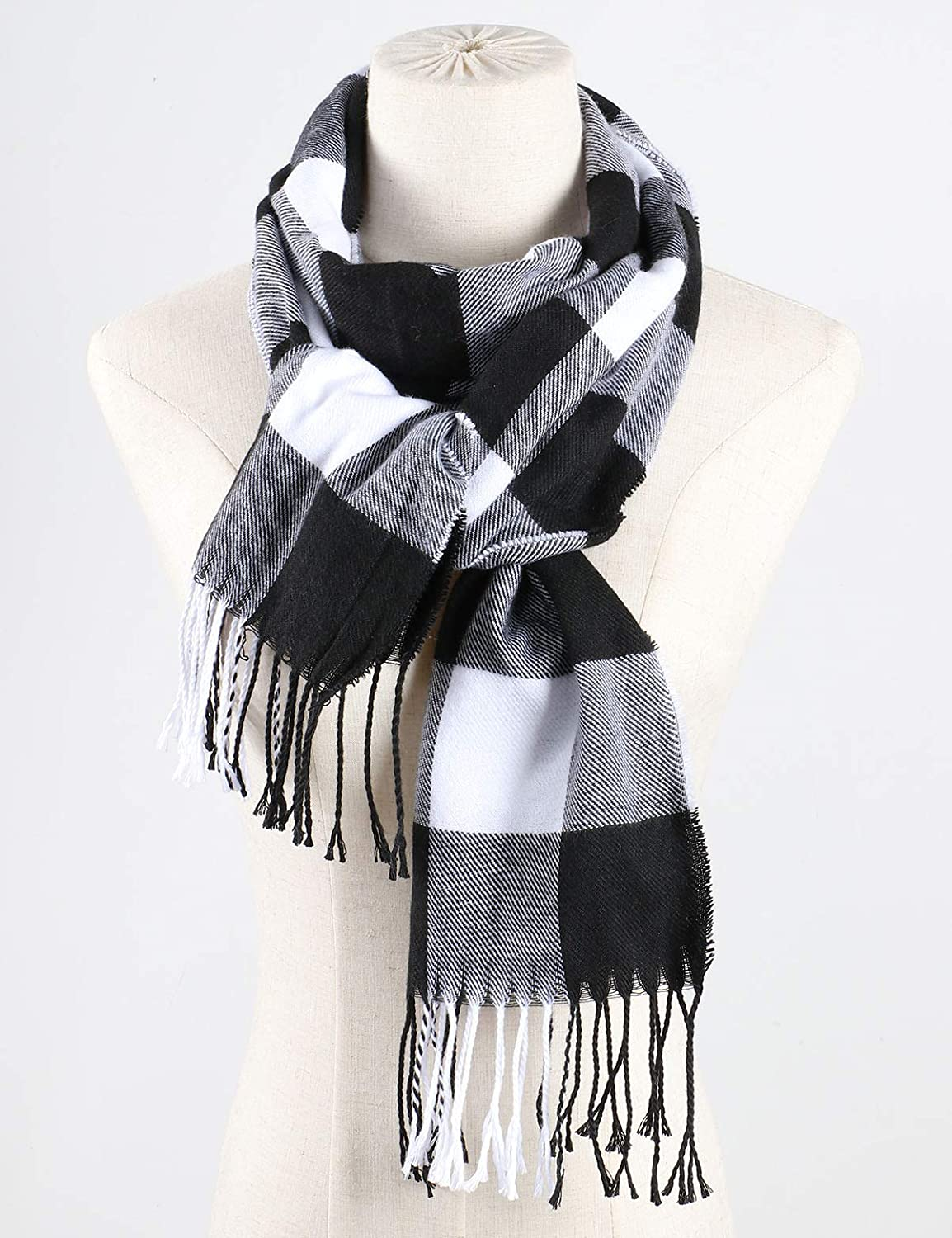 Bestgift Mens Plaid Winter Neck Scarf with Tassel Gray Grid One Size
