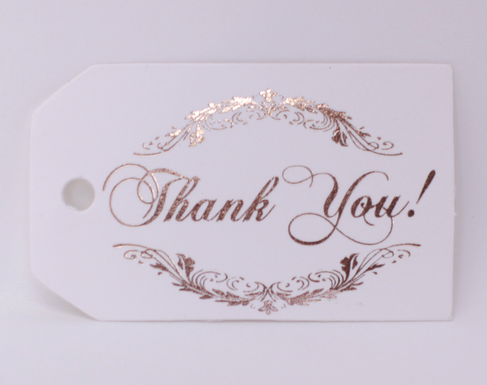 Thank You Tags, 40 Pack, Rose Gold Foil Printing, Off White Paper, Gift Tags, Party Favors (Thank You!2 Rose Gold)