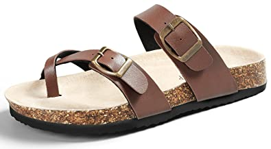 75febac42070db SANDALUP Soft Ring Toe Flip Flop Flat Cork Sandals for Women Brown 06