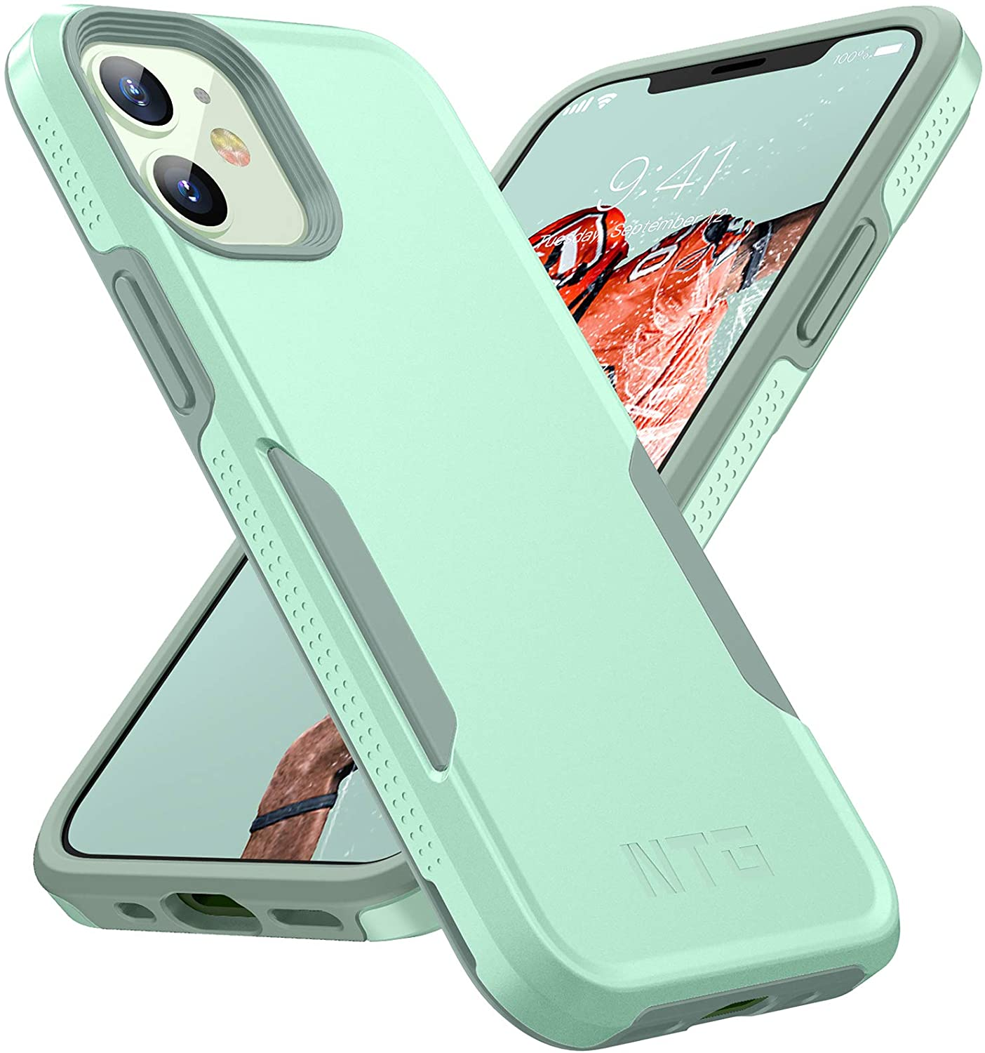 NTG [1st Generation] Designed for iPhone 12 Case & iPhone 12 Pro Case, Heavy-Duty Tough Rugged Lightweight Slim Shockproof Protective Case for iPhone 12 6.1 Inch, Green
